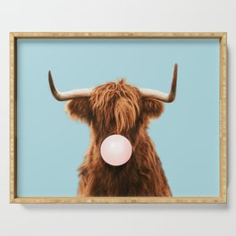 Bubble gum highland cattle in blue Serving Tray