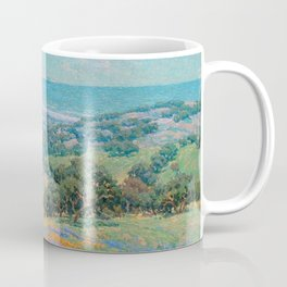 Malibu Coast, California with wild poppies floral seascape painting by Granville Redmond Coffee Mug