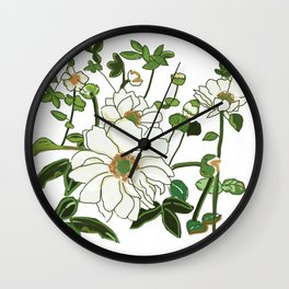 Resilient White Flowers Wall Clock