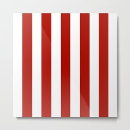 Mordant red 19 red - solid color - white vertical lines pattern Metal Print