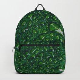 Water Droplets on Green Leaf Backpack
