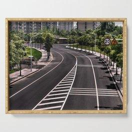 Summer street road, no people, empty (Nantong, China) (2015-6N-SSR) Serving Tray