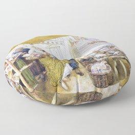Myles Birket Foster - The fish market on the steps of the Rialto Bridge - Digital Remastered Edition Floor Pillow