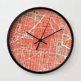 Mexico city map classic Wall Clock