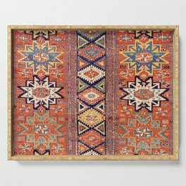 Southwestern Farmhouse III // 19th Century Colorful Red Yellow Blue Green Aztec Farm Stars Pattern Serving Tray
