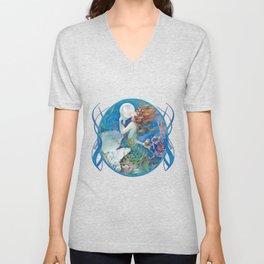 Sensual Art Deco Pearl Mermaid Unisex V-Neck