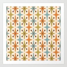 Mid Century Modern Abstract Star Pattern 441 Orange Brown Blue Olive Art Print
