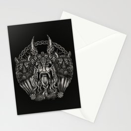 Odin and his wolves Geri and Freki Stationery Cards