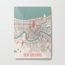 New Orleans - Louisiana Chalk City Map Metal Print