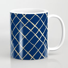 Elegant  abstract geometrical navy blue gold pattern Coffee Mug