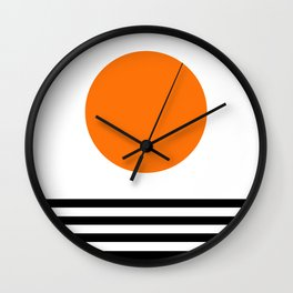 Orange Zen Sunset Minimalist Art Black Stripes Simple Art Wall Clock