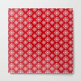 Winter Wonderland Snowflake Snowfall Christmas Pattern Metal Print