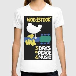 Woodstock 1969 - black background T-shirt