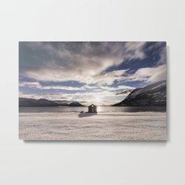 Winter Hut Metal Print