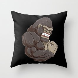 Gorilla At The Gym   Fitness Training Muscles Throw Pillow