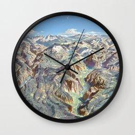 Heinrich Berann - Panoramic Painting of Yosemite National Park (1989) Wall Clock