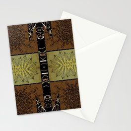Bronze, Gold Striped Tile black, gold leaf, copper, bronze,) Persian Style  Stationery Cards
