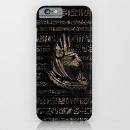 Bastet Egyptian Goddess -vintage gold on black iPhone Case