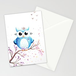 Cute Blue Owl Illustration Stationery Cards