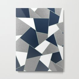 Navy Blue Gray White Mint Geometric Glam #1 #geo #decor #art #society6 Metal Print
