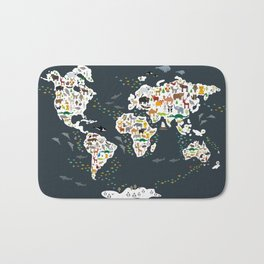 Cartoon animal world map for children, kids, Animals from all over the world, back to school, gray Bath Mat