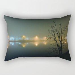 Wesley Lake at Night in Fog Rectangular Pillow