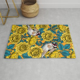 Yellow rose flowers and goldfinch birds Rug