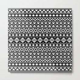 Aztec Essence Pattern II White on Black Metal Print