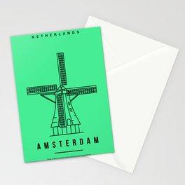 Amsterdam Windmill Minimalist Art Stationery Cards