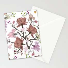 Floral Flourish pattern with roses and iris flower Stationery Cards