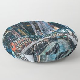 Bright Neon Future City Floor Pillow