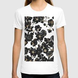 Modern Elegant Black White and Gold Floral Pattern T-Shirt