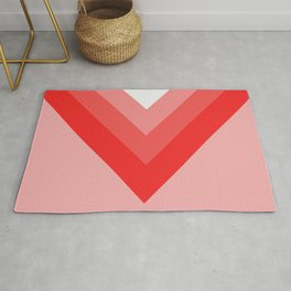 Red and Pink Chevrons Rug