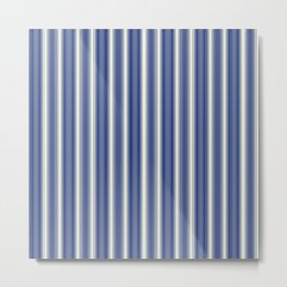 Blue and Cream Stripes Metal Print