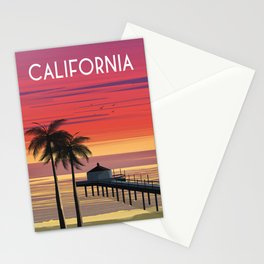 California beach palms Vintage travel poster  Stationery Cards