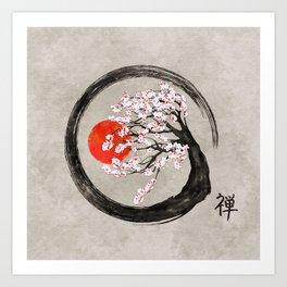 Zen Enso Circle and Sakura Tree on Canvas Art Print