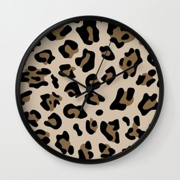 Big Beige and Brown Leopard Spots Wall Clock