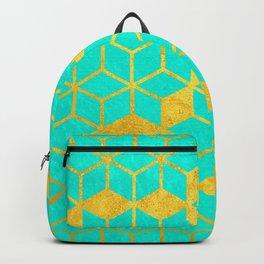 Aqua and Gold Cubes Backpack
