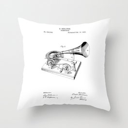 patent art Berliner Gramophone 1895 Throw Pillow