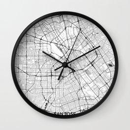 San Jose Map Gray Wall Clock
