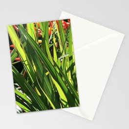Glimpse of Red Flowers Hidden Behind Elegant Leaves Stationery Cards
