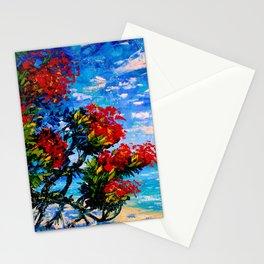 Crimson Bloom of Pohutukawa - New Zealand Kiwi Art Stationery Cards
