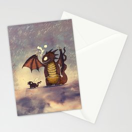Dragons in the Rain Stationery Cards