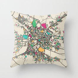 Colorful City Maps: Bucharest, Romania Throw Pillow