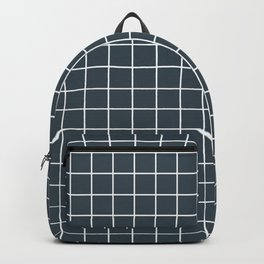 Charcoal - grey color - White Lines Grid Pattern Backpack