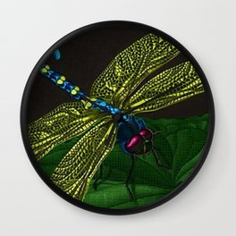 Dragonfly on a leaf by Jeanpaul Ferro based on b&w print by E.C. Escher Wall Clock