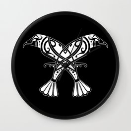 Huginn and Muninn- Two Ravens Wall Clock