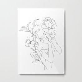 Minimal Line Art Woman with Peonies Metal Print