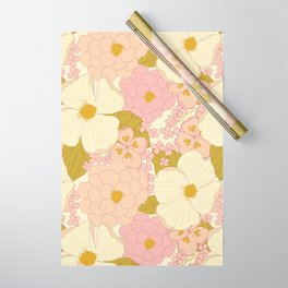 Pink Pastel Vintage Floral Pattern Wrapping Paper