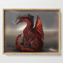 Challengers World Abstract Dragon Art Serving Tray